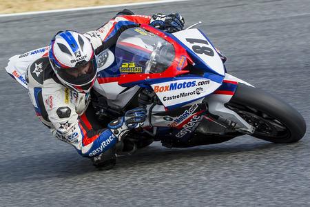 championships: Driver Eduardo Salvador. BMW S1000RR. Mediterranean Motorcycling Championships. Barcelona, Spain - July 19, 2015