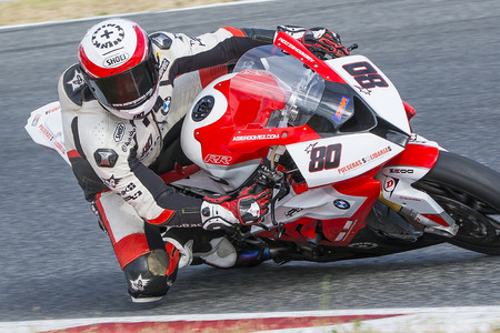 motorcycling: Driver Asier Gomez. BMW S1000RR. Mediterranean Motorcycling Championships. Barcelona, Spain - July 19, 2015