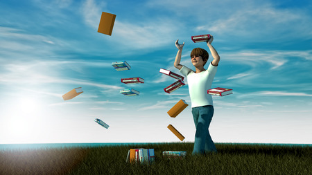teen boy: Freedom. Young boy and books Stock Photo