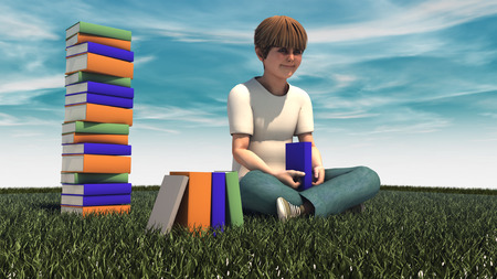 nonfiction: Freedom. Young boy and books Stock Photo