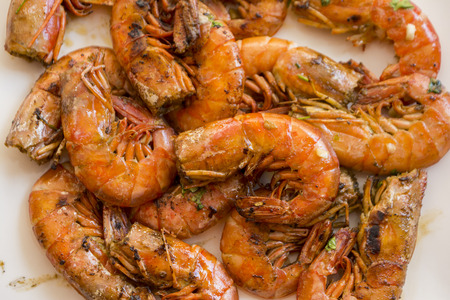 Prawns with garlic and parsley in Spain Stock Photo