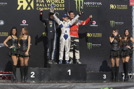 tommy: Tommy Rustad winner Super Car RX.  Barcelona FIA World Rallycross Championship. Montmelo, Spain. September 19, 2015 Editorial