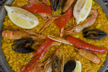 typical: Typical Spanish seafood paella