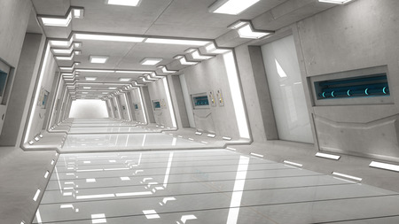 futuristic interior: Futuristic corridor interior