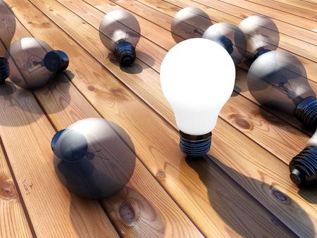 illuminated: Illuminated lightbulb and parquet