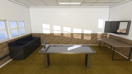 Autopsy room and table