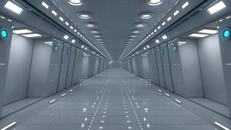 futuristic interior: Futuristic interior corridor stage Stock Photo