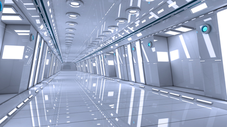 futuristic interior: Futuristic interior corridor stage Stock Photo