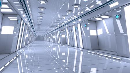futuristic: Futuristic interior corridor stage Stock Photo