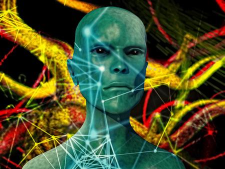 abduction: Alien portrait and futuristic background