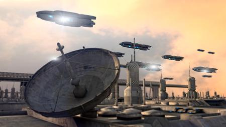 futuristic city: Futuristic city and ships