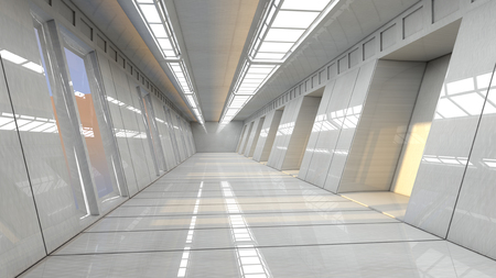 futuristic interior: Futuristic 3d interior corridor