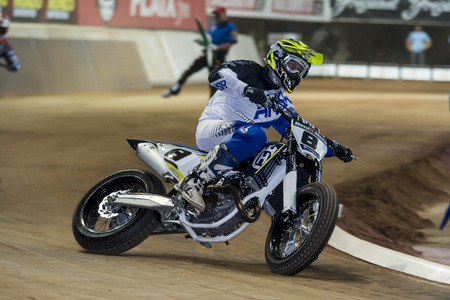 xavi: Driver Xavi Galindo. Dirt Track Superprestigio competition at the Palau Sant Jordi. Barcelona, Spain. December 12, 2015