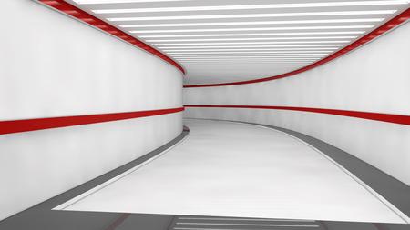 futuristic interior: Futuristic architecture interior corridor