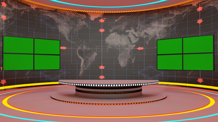 Futuristic 3d TV studio and chroma Stock Photo