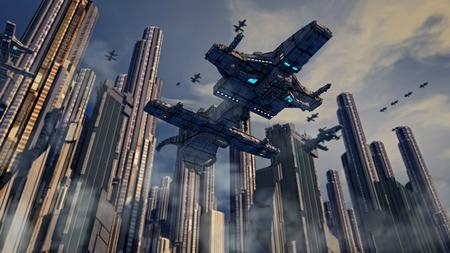 Spaceship and city Stock Photo