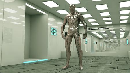 creature: Futuristic corridor and alien figure