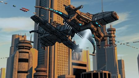 fantasy alien: Futuristic city and ships
