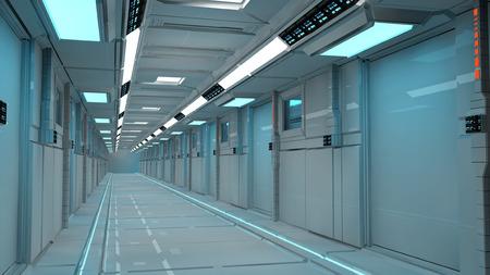 futuristic interior: Futuristic corridor interior architecture Stock Photo
