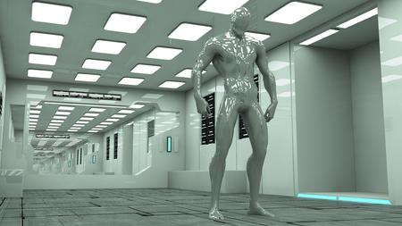Futuristic corridor architecture and alien
