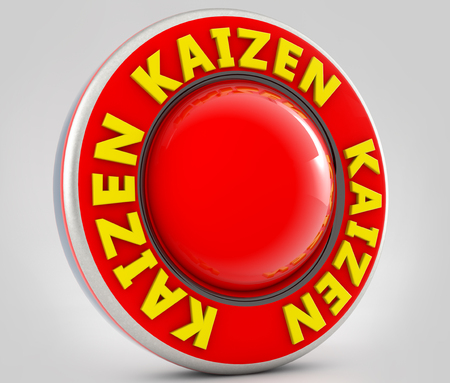 3d Kaizen red sign Stock Photo