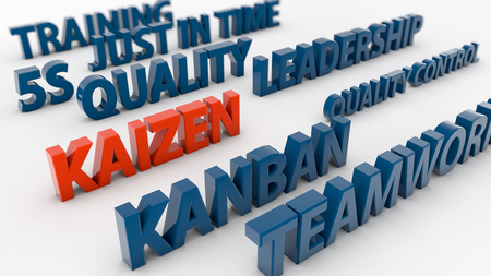 kaizen: 3d quality concepts and kaizen Stock Photo