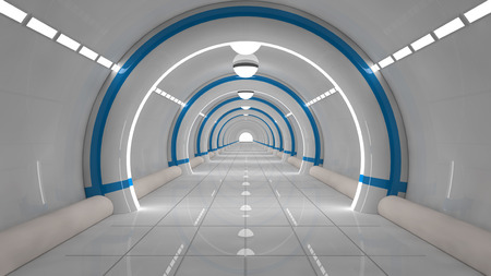 empty space: 3d render. Futuristic corridor architecture