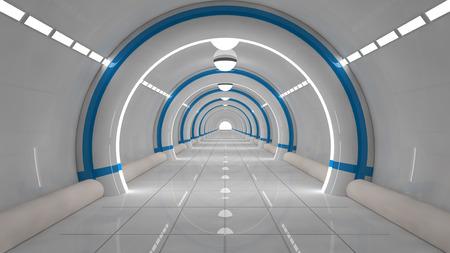 3d render. Futuristische corridor architectuur Stockfoto