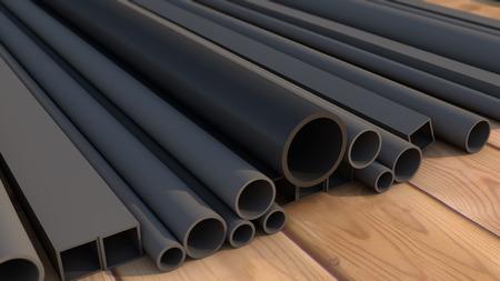 metal pipe: Black metal pipe Stock Photo
