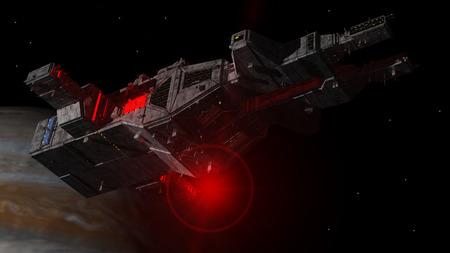 Spaceship UFO et la planète Banque d'images