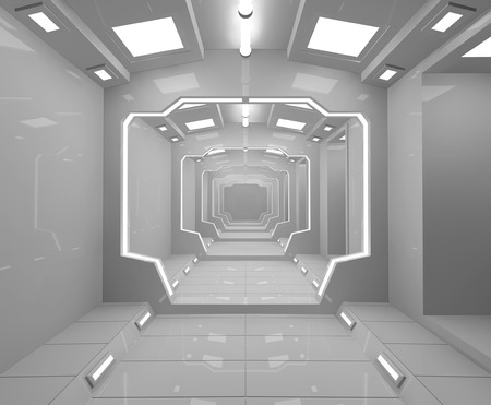 futuristic interior: Futuristic interior corridor