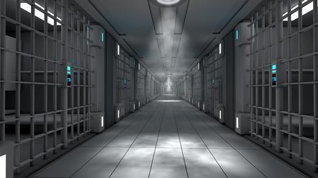 3d interior jail corridor Archivio Fotografico