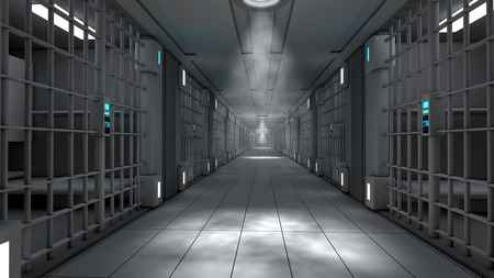 arrested criminal: 3d interior jail corridor Stock Photo
