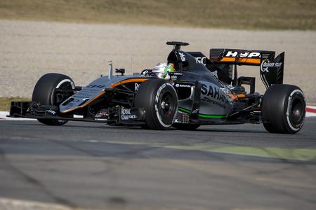 formula one: Driver Alfonso Celis.  Team Sahara Force India. Formula One Test Days at Circuit de Catalunya. Montmelo, Spain. February 22, 2016 Editorial