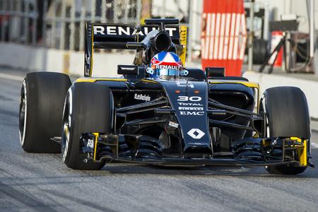 Driver Jolyon Palmer.  Team Renault Sport. Formula One Test Days at Circuit de Catalunya. Montmelo, Spain. February 22, 2016