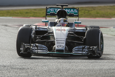 formula one: Driver Lewis Hamilton.  Team Mercedes AMG Petronas. Formula One Test Days at Circuit de Catalunya. Montmelo, Spain. February 22, 2016