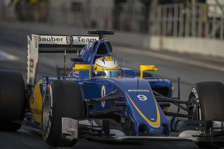 ericsson: Driver Marcus Ericsson.  Sauber F1 team. Formula One Test Days at Circuit de Catalunya. Montmelo, Spain. February 22, 2016