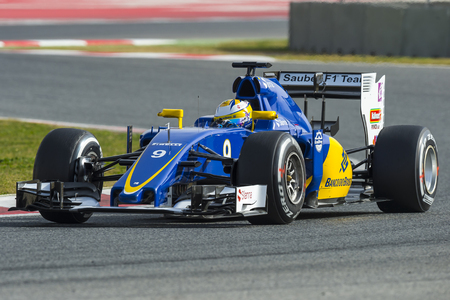 formula one: Driver Marcus Ericsson.  Team Sauber F1. Formula One Test Days at Circuit de Catalunya. Montmelo, Spain. February 23, 2016