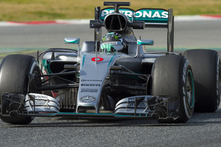 formula one: Driver Nico Rosberg.  Team Mercedes. Formula One Test Days at Circuit de Catalunya. Montmelo, Spain. February 23, 2016 Editorial