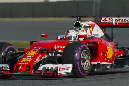 formula one: Driver Sebastian Vettel.  Team Ferrari. Formula One Test Days at Circuit de Catalunya. Montmelo, Spain. February 23, 2016