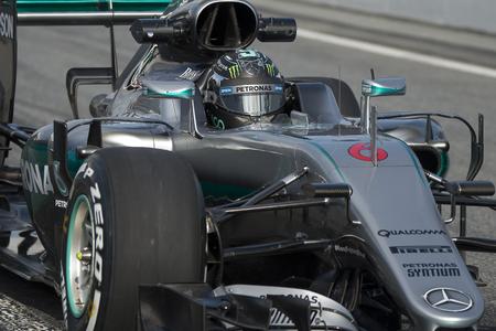 formula one: Driver Nico Rosberg.  Team Mercedes. Formula One Test Days at Circuit de Catalunya. Montmelo, Spain. February 25, 2016