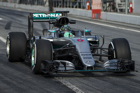 formula one: Driver Nico Rosberg.  Team Mercedes. Formula One Test Days at Circuit de Catalunya. Montmelo, Spain. February 25, 2016