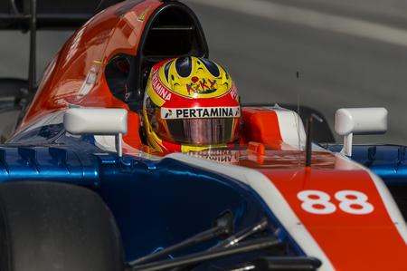 formula one: Driver Rio Haryanto.  Team Manor F1. Formula One Test Days at Circuit de Catalunya. Montmelo, Spain. February 25, 2016