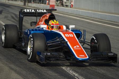 Driver Rio Haryanto.  Team Manor F1. Formula One Test Days at Circuit de Catalunya. Montmelo, Spain. February 25, 2016
