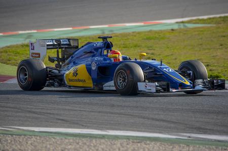 formula one: Driver Felipe Nasr.  Team Sauber F1. Formula One Test Days at Circuit de Catalunya. Montmelo, Spain. February 25, 2016