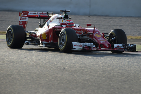 formula one: Driver Raikkonen.  Team Ferrari. Formula One Test Days at Circuit de Catalunya. Montmelo, Spain. February 25, 2016 Editorial