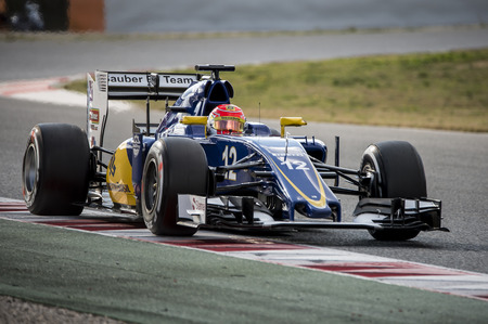 sauber: Driver Felipe Nasr.  Team Sauber F1. Formula One Test Days at Circuit de Catalunya. Montmelo, Spain. February 25, 2016