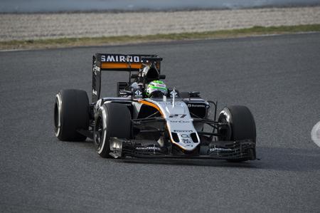 formula one: Driver Nico Hunkelberg. Team Sahara Force India. Formula One Test Days at Circuit de Catalunya. Montmelo, Spain. March 1, 2016