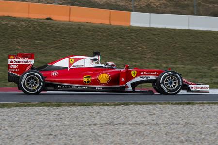 formula one: Driver Kimi Raikkonen. Team Ferrari  F1. Formula One Test Days at Circuit de Catalunya. Montmelo, Spain. March 1, 2016 Editorial