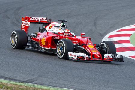 Driver Kimi Raikkonen. Team Ferrari  F1. Formula One Test Days at Circuit de Catalunya. Montmelo, Spain. March 1, 2016 Editorial